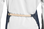 Denim apron with leather straps
